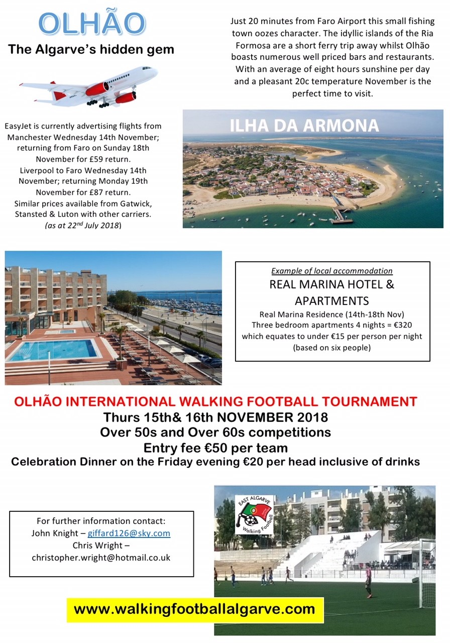 Visit Olhao for a Walking Football Tournament