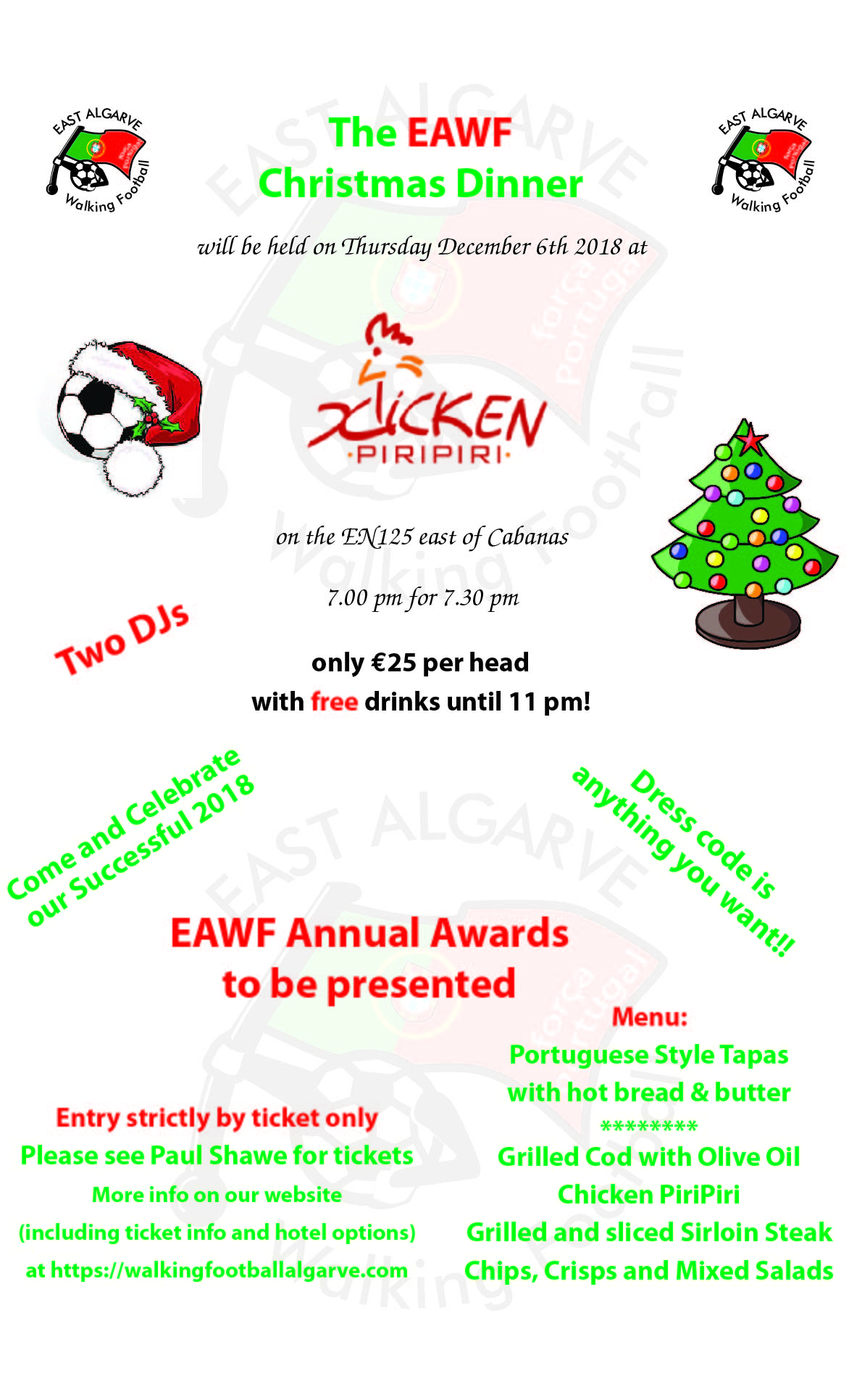 EAWF Xmas Dinner 2018 - East Algarve Walking football